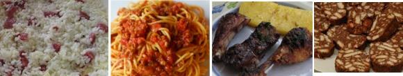 risotto pasta di salame, costine e polenta