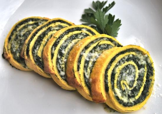 Rotolo salato con ricotta e spinaci