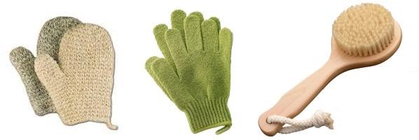 guanti e spazzole esfolianti